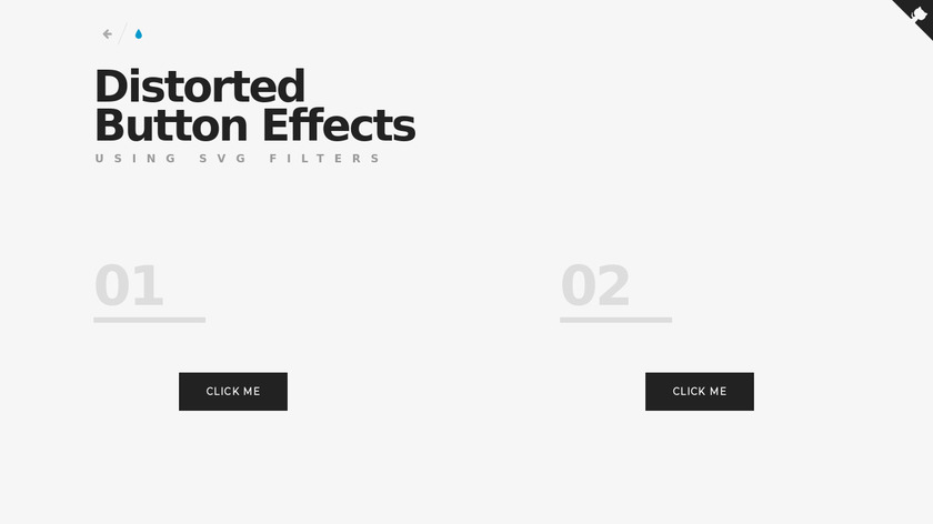 Distorted Button Effects Landing Page