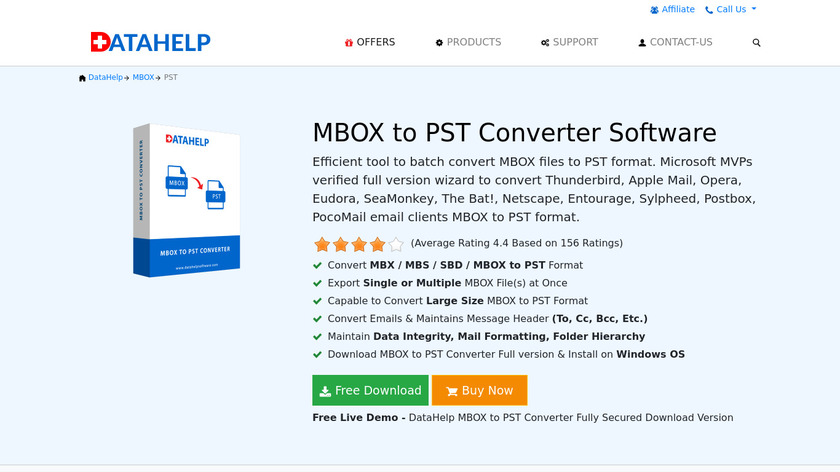 DataHelp MBOX to PST converter Landing Page