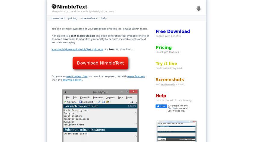 NimbleText Landing Page