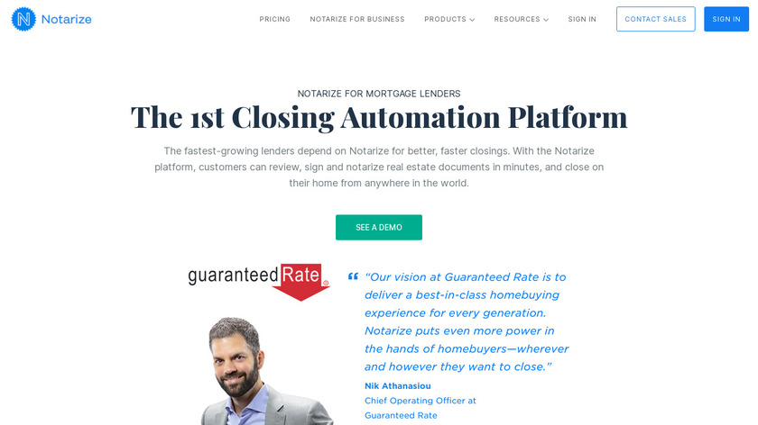 Notarize for Mortgage Landing Page