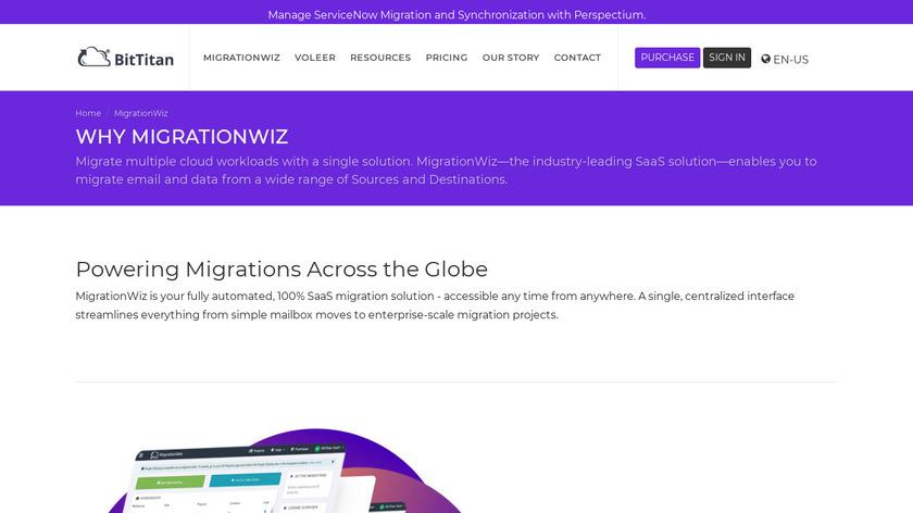 MigrationWiz Landing Page