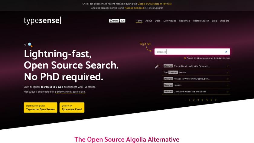 Typesense Landing Page