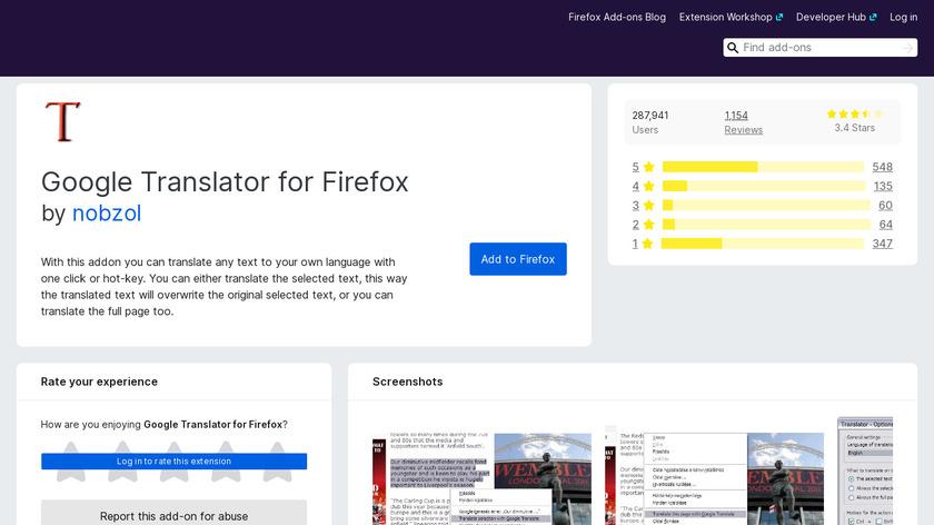 Google Translator for Firefox Landing Page