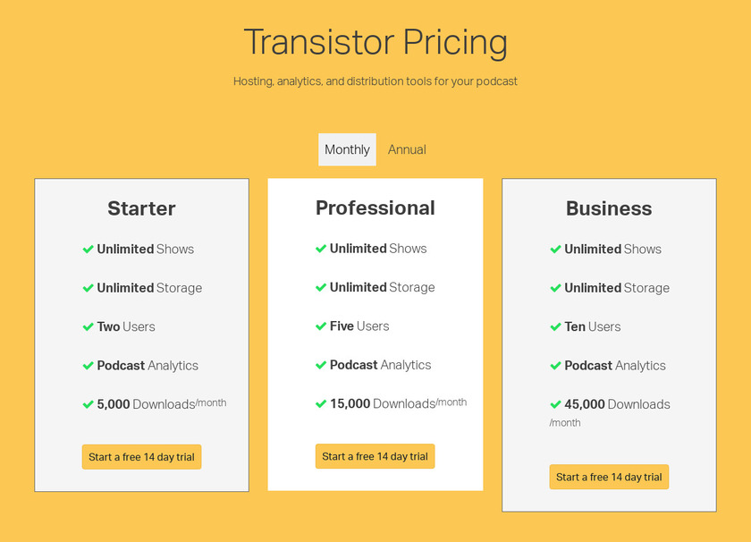 Transistor.fm Pricing