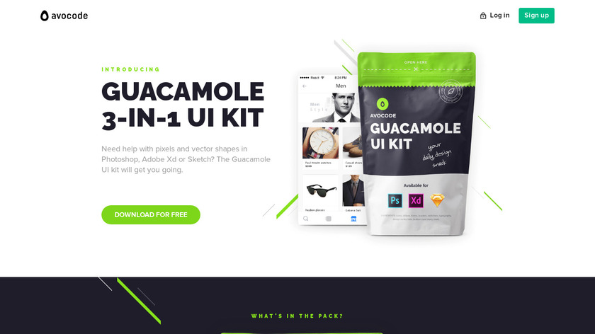 Guacamole UI kit by Avocode Landing Page