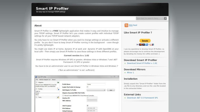 Smart IP Profiler Landing Page
