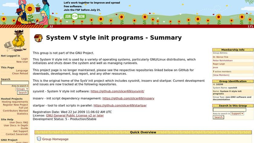 sysvinit Landing Page