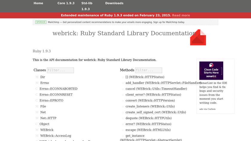 WEBrick Landing Page