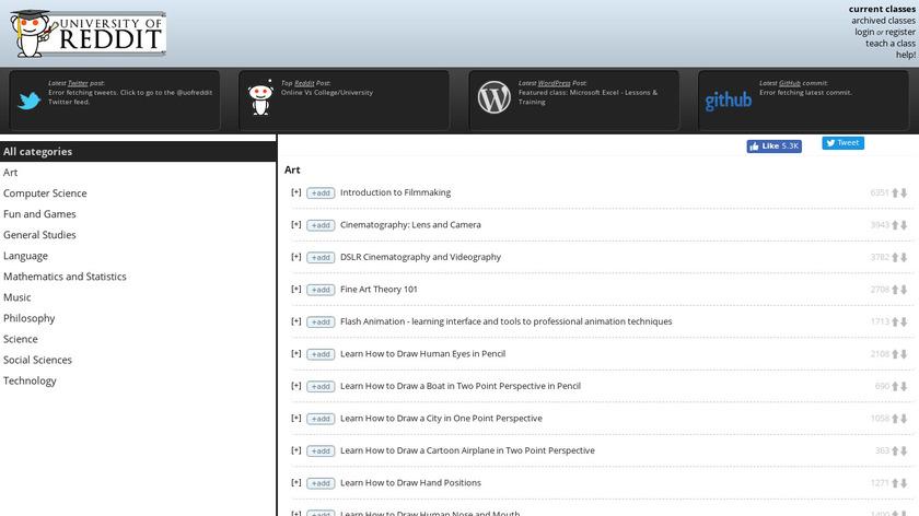 University of Reddit Landing Page