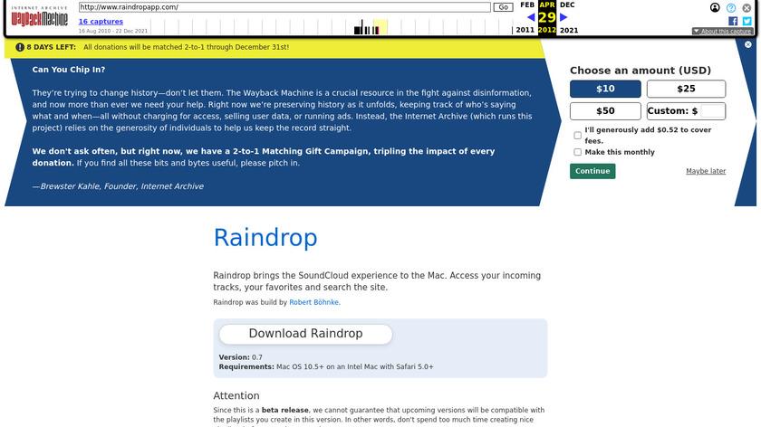 Raindrop Landing Page