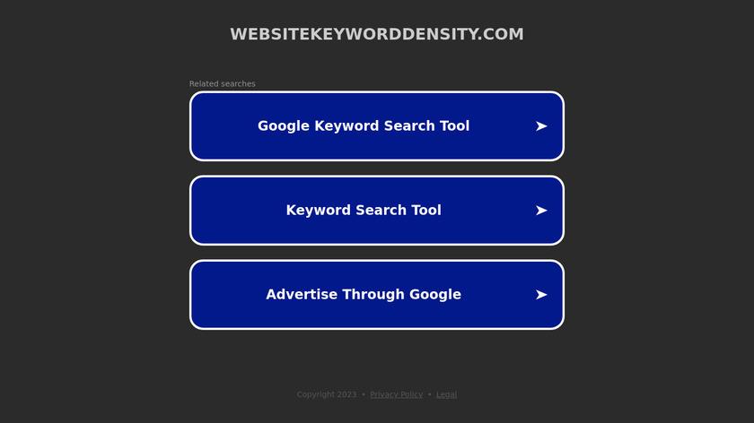 WebsiteKeywordDensity.com Landing Page