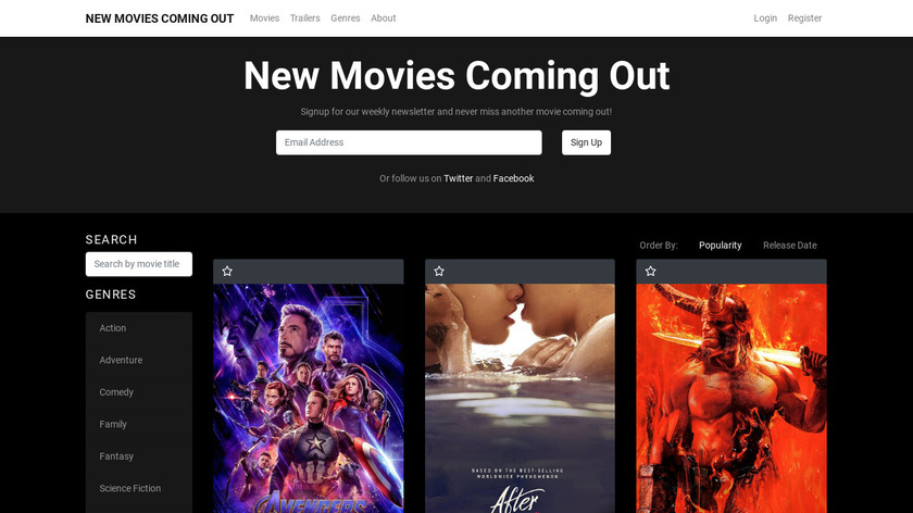 New Movies Coming Out Landing Page