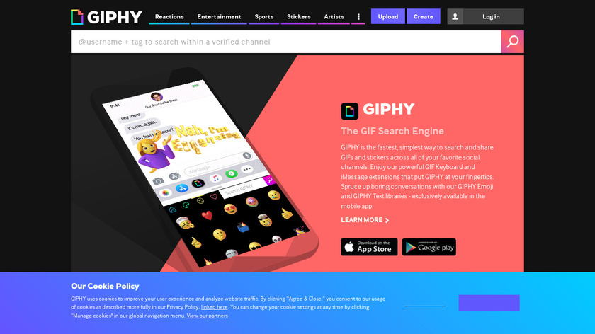 GIPHY Says Landing Page