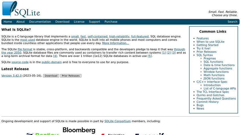 SQLite Landing Page