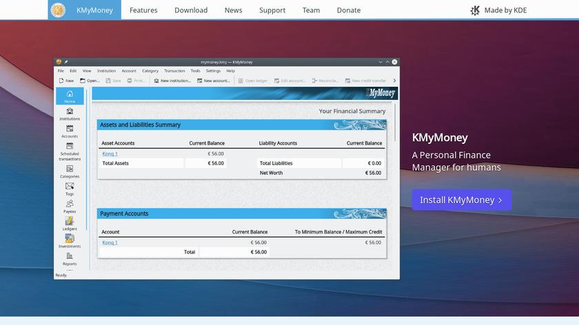 KMyMoney Landing Page
