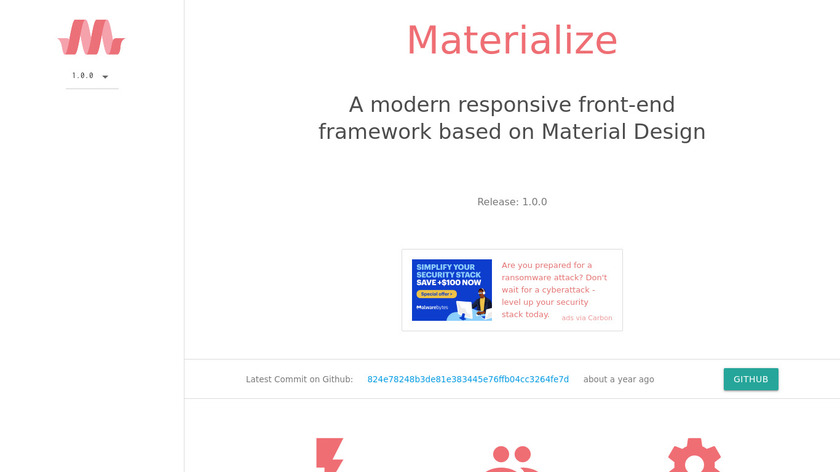 Materialize CSS Landing Page
