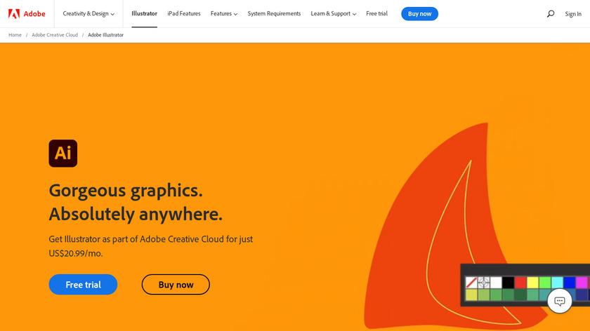 Adobe Illustrator CC Landing Page