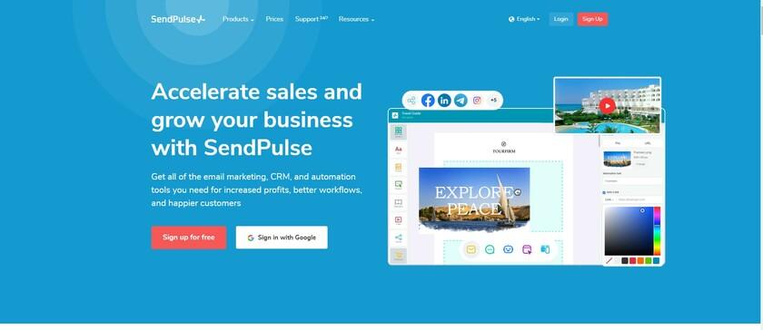 SendPulse Landing Page