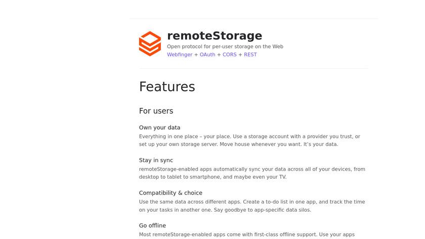 RemoteStorage Landing Page