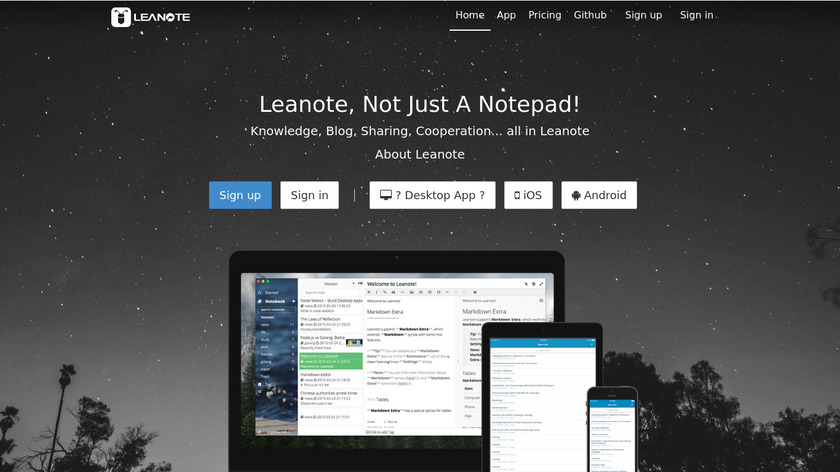 Leanote Landing Page