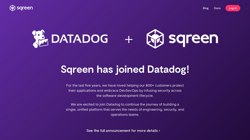 Sqreen Landing Page