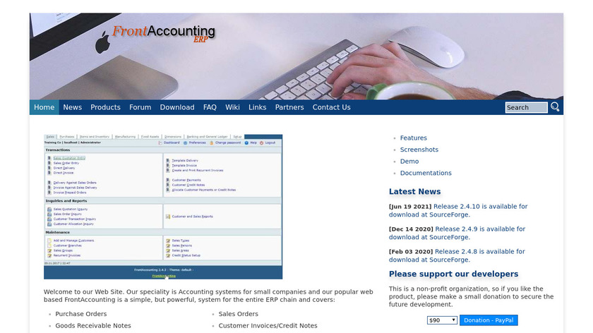 FrontAccounting Landing Page