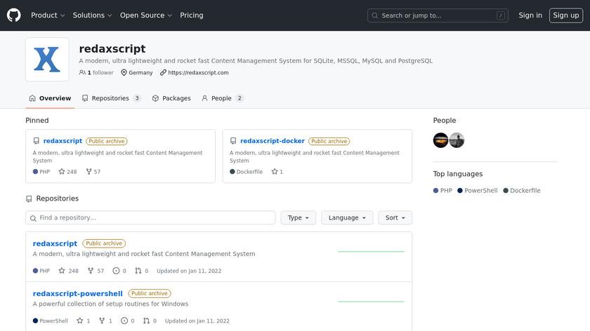 Redaxscript Landing Page