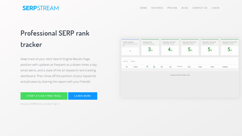 SERPstream Landing Page