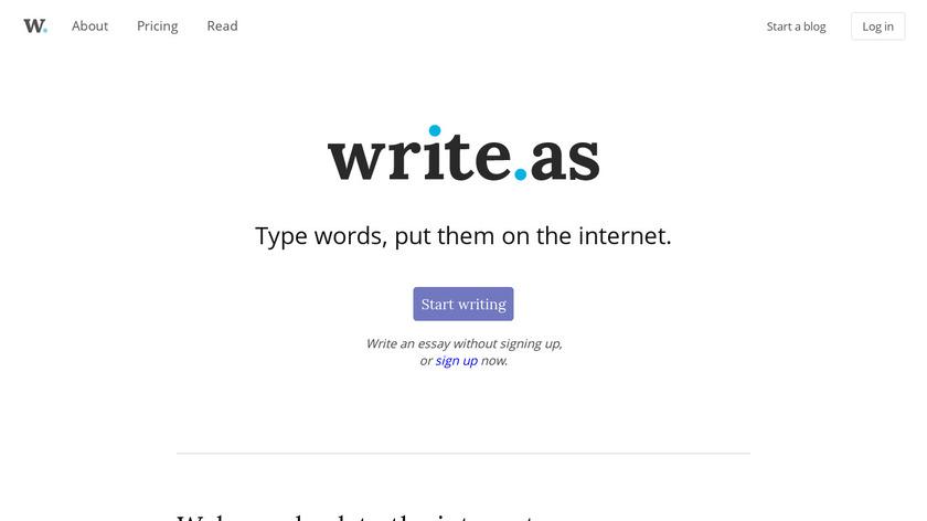 Write.as Landing Page