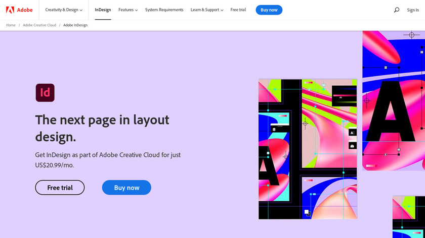 Adobe InDesign Landing Page