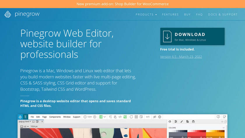 Pinegrow Web Editor Landing Page