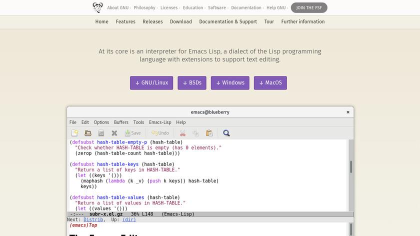 GNU Emacs Landing Page