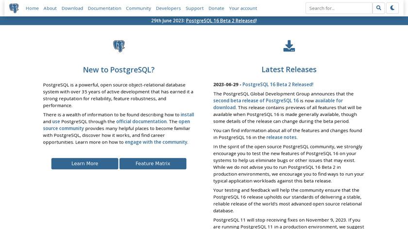 PostgreSQL Landing Page
