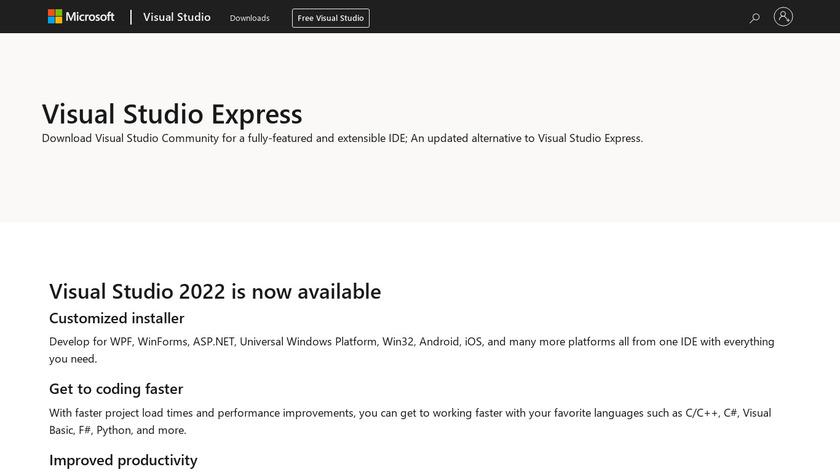Microsoft Visual Studio Landing Page