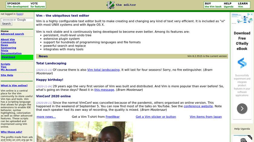 Vim Landing Page