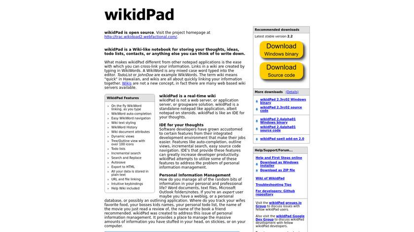 wikidPad Landing Page