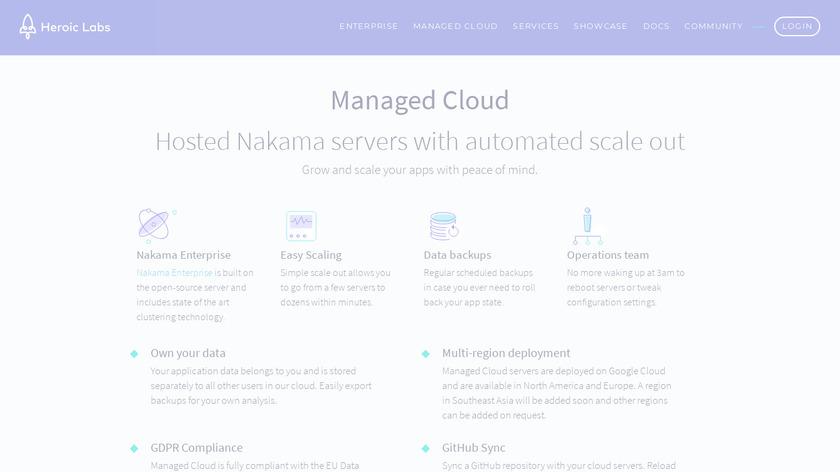 Heroic Labs Managed Cloud Landing Page