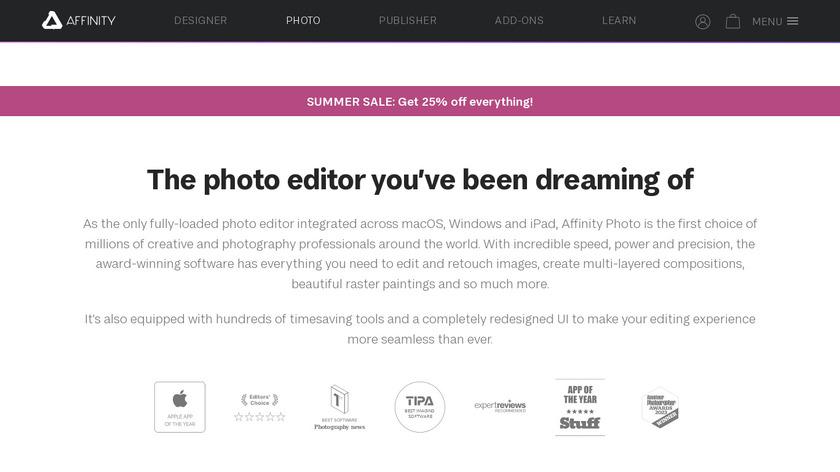 Affinity Photo Landing Page