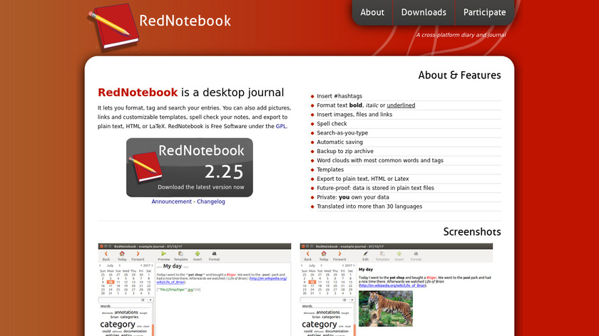 RedNotebook Landing Page