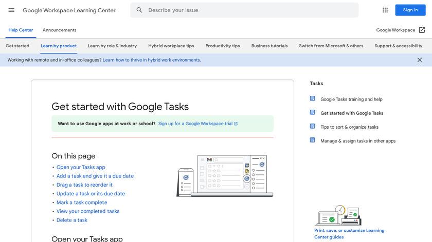 Google Tasks Landing Page