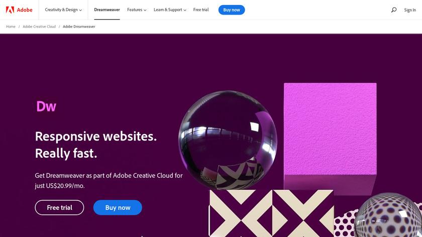 Adobe Dreamweaver Landing Page