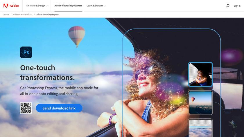 Adobe Photoshop Express Landing Page