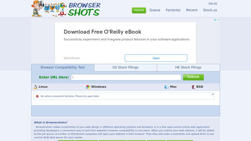 Browsershots Landing Page
