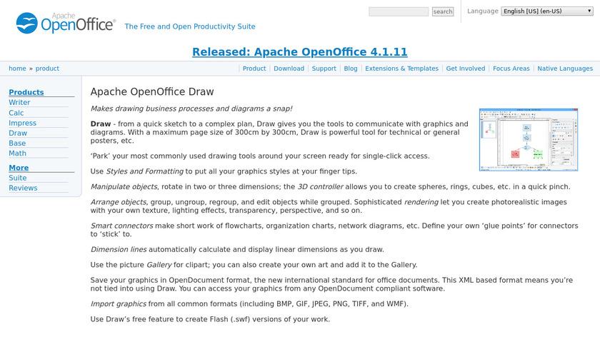Apache OpenOffice Draw Landing Page