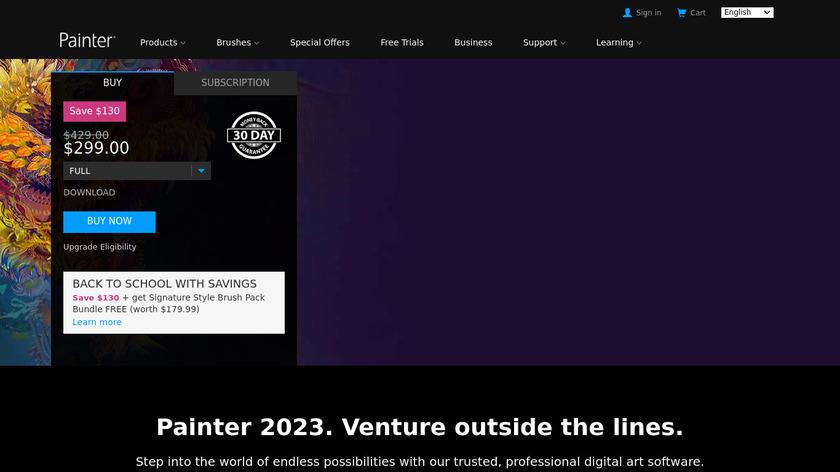 Corel Painter Landing Page