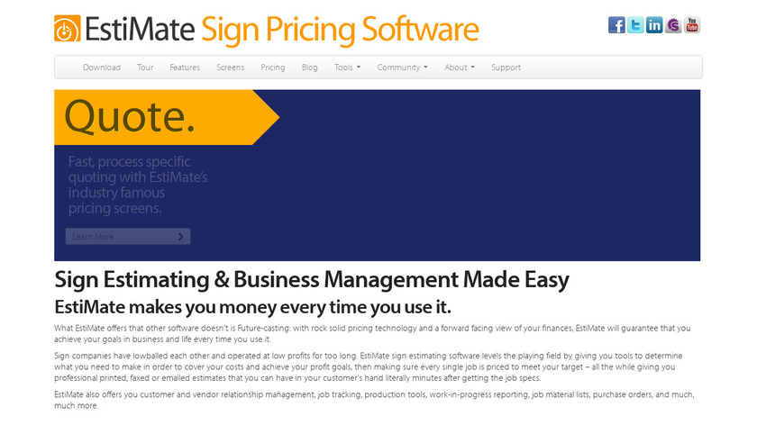 Esti-Mate Software Version 4.5 Landing Page