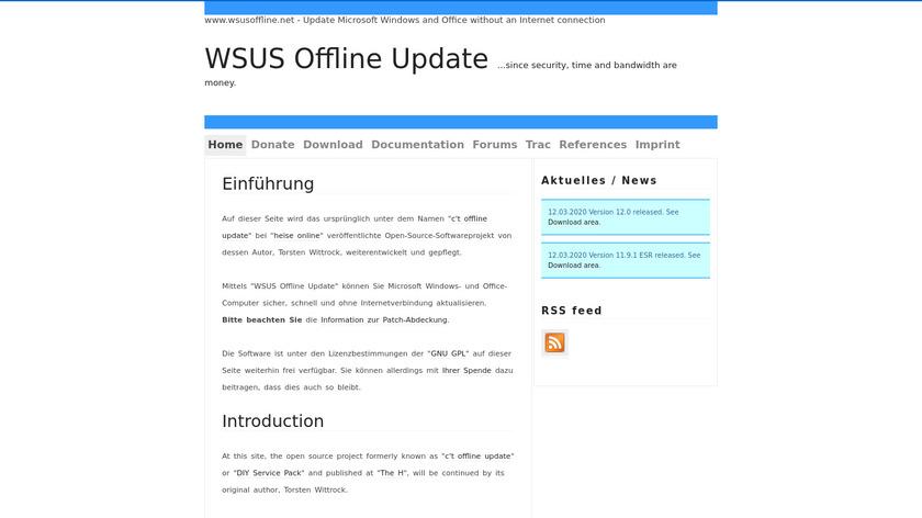 WSUS Offline Update Landing Page