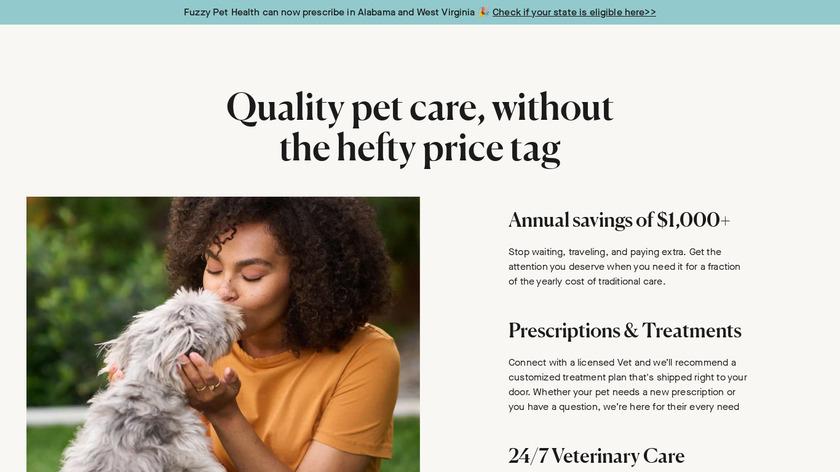 Fuzzy Pet Health App Landing Page