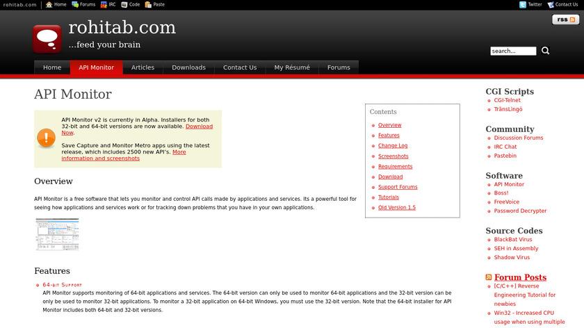 API Monitor Landing Page