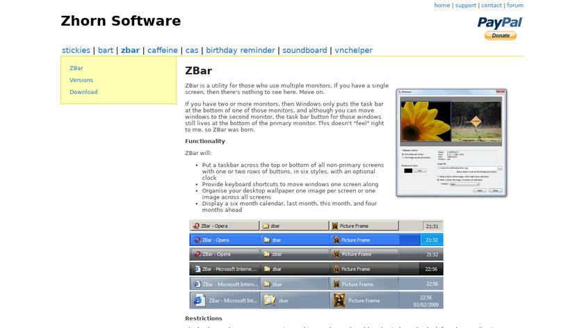 zhornsoftware.co.uk ZBar Landing Page
